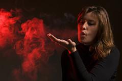 73/365 - red smoke (eggii) Tags: project365 smoke red light studio paula portrait