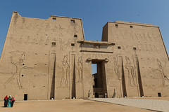 Pylon for  the Temple of Horus, Edfu (Hector16) Tags:  dahabiyadream horus egyptology nile sailing egypt ptolemaictemple northafrica boat templeofedfu edfu dahabiya templeofhorus aswangovernorate eg