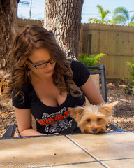 Kalli and Zoey (188) (BuccaneerBoy) Tags: yorkie yorkshireterrier puppy dog woman girl female hooters hooterscalendargirl florida clearwater largo seminole stpetersburg model beautiful lovely fun family fall autumn november