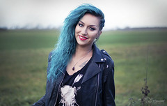 Blue (Paula Darwinkel) Tags: selfportrait portrait glamour outdoor photography woman girl tattoo bluehair hairstyle style model smile