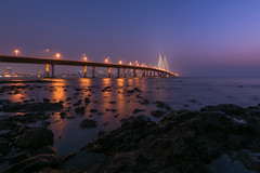 Mumbai - Bandra Worli Sea Link (ChetanRana) Tags: mumbai bwsl bandraworli sealink architecture cityscape arabiansea seascape evening colours hues city colourfulcity capital digitalblending photoshop