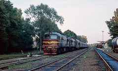UZ 2M62-1002 at Dolina. Ukraine. 08/09/2000. (Marra Man) Tags: dolina ukranianstaterailways class2m62 2m621002 ukrzaliznitsa dzherelo industrialrailwaysociety