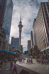Auckland City (Marcos Venicius) Tags: auckland novazelndia city street queenstreet harbour urban clouds blue photography buildings sea