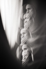v.iew (Raimis T.) Tags: portrait nikonfm2 fomaretropan320 window analogue film blackandwhite multipleexposures madness surreal