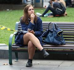 Think (drez5mond) Tags: candid woman legs crossed bench public