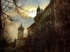 Prague (janetfo747 ~ Pray for Peace) Tags: city trees light brown sunlight art texture photoshop czech prague artland
