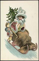 Julekort, ca. 1908 (National Library of Norway) Tags: christmas barn children toys postcards christmascards jul sleds juletre julekort leker postkort jenter lekety sleder nasjonalbiblioteket hytider nationallibraryofnorway