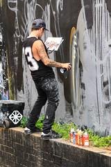 Artist at Work (Mabacam) Tags: london artist workinprogress wallart streetartist shoreditch spraypaint freehand publicart balancing aerosolart spraycanart eastend 2015 fanakapan