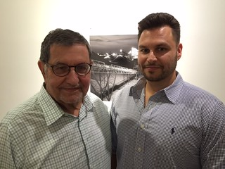 Collector Martin Margulies with son Michael at the Robert Huff opening