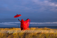 lady in red (betty wiley) Tags: red grass umbrella model provincetown capecod massachusetts dunes chinese newengland workshop parasol ptown racepoint bettywileyphotography