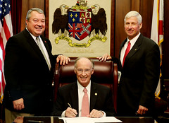 10-14-2015 Governor Bentley Ceremonially Signs HB-554, Consolidation and reorganization of Workforce Development at Commerce