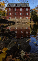 Kingston Mill House (Dalliance with Light (Andy Farmer)) Tags: autumn house fall mill water leaves reflections river canal us newjersey rocks unitedstates dr drcanal kingston millstone princeton delaware millhouse raritan millstoneriver delawareandraritancanal