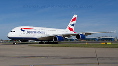 BA A380 Exiting The Runway At Heathrow. (spencer.wilmot) Tags: plane airplane airport ramp heathrow aircraft aviation jet apron airbus a380 ba arrival britishairways airliner lhr jetliner baw taxiway egll speedbird airside gxlee