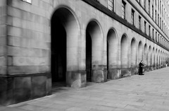 Solo (plot19) Tags: street shadow england blackandwhite man black english manchester photography town hall mood arch shot northwest britain sony north arches british northern rx100 plot19