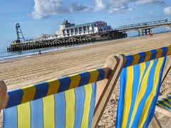 Seaside Deckchairs (Nick Fewings 4.5 Million Views) Tags: sunshine clouds sky september summer seaside sea sand panasonic nickfewings uk dorset bournemouth pier yellow blue stripes deckchairs angle beach