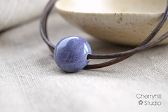 pebble bead necklace (Cherryhill Studio) Tags: ceramicjewellery ceramicbeads etsy beads necklace ceramic purple pebble pebblebead