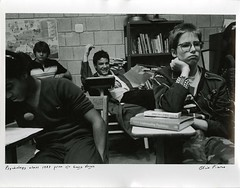 Psychology Class, 1983 (Cambridge Room at the Cambridge Public Library) Tags: cambridgemass cambridge massachusetts bw blackandwhite olivepierce pierceolive cambridgerindgeandlatinschool crls students classroom