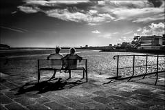 Zenitude...!! (vedebe) Tags: ocean mer banc humain people noiretblanc netb nb bw monochrome ville city rue street urbain quai bretagne audierne port ports
