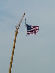 Honoring Memorial Day (jHc__johart) Tags: flag crane americanflag constructionequipment oklahoma sky