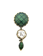 "Ancient Romance Series - Scottish Tartans Collection - Kincaid Clan 25mm Fob Style Brooch with Initial ""K"" and Emerald Czech Glass Charm"