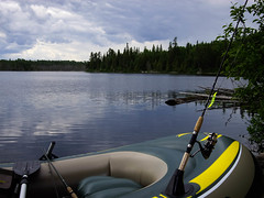 The Trusty Sea-Hawk and a Mepps Charteuse Lure. (kgfamilyphotos) Tags: freshwater hatch dragonfly dingy northernontario camp fishingtrip lakelaserge kevingiles