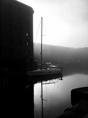 Good Morning Foggy Liverpool (Deydodoe) Tags: blackandwhite mersey merseyside liverpool albertdock sun fog mobile iphone iphone6s monochrome mono bw dock boat sailing sailboat scouse england uk 2016