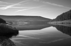 Alphin and Dovestone Reservoir from the treatment plant site Greenfield, SRB 10stop long exposure. (kyliepics) Tags: olympus e520 evolt520 olympuszuikodigital1122mmf2835 srbpsizend3010stopfilter srbpsizend093stopgradfilter darktable saddleworth blackwhite addedtogroups