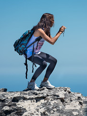 Get That Shot (Ron Scubadiver's Wild Life) Tags: girl woman candid street style nikon cape town south africa outdoor 70300 cliff table mountain rocks sky leggings photographer