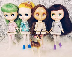 Anouk and her lovely ladies, Flossie, Jaclyn and Fabiana in their Fancy Schmancy dresses, now available in my Etsy shop
