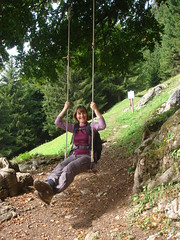 Tracy_on_the_Swing_by_The_Goat's_Cheese_Farm (Abbey_L) Tags: alps day5dentdeverrue france frenchalps outbreakadventure people samoens swing thebabe tjpio tracy