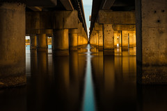 i90 (cylynex) Tags: alabama highway sunset travel nikon d800 santocommarato symmetry underthebridge i90 mobile daphne bayway road bridge