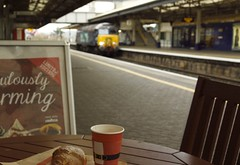 Coffee & Croissant (Stapleton Road) Tags: class57 train station platform cafe railway locomotive