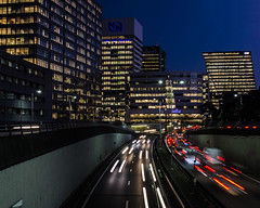 Downtown The Hague (Guido Speekenbrink) Tags: hague netherlands roed highway building night dark architecture cityscape town lights officw skyline skyscraper utrechtse baan landscape perspective blue hour bluehour