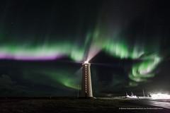 Garðskagi Lighthouse. (Kjartan Guðmundur) Tags: nightphotography sky lighthouse canon stars landscape iceland nightscape ngc nocturne ísland northernlights auroraborealis norðurljós canoneos5dmarkiii tokinaatx1628mmf28profx kjartanguðmundur