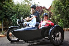1954 BSA sidecar motorcycle, Uncle Kev's pride and joy. Mel Gajdek getting a lift in this picture (Orangedrummaboy) Tags: black beard helmet motorbike 1950s motorcycle british sidecar horsepower bsa easyrider twowheels farnorthqueensland threewheels bsamotorcycle birminghamsmallarms birminghamsmallarmscompany bsasidecar