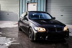 BMW 3 Series E90 Satin black wrap (Sean at Monsterwraps Ltd) Tags: hampshire german bmw stealth modified southampton e90 germancars carwrap satinblack carwrapping satinwrap 3m1080 monsterwraps wrappedlife