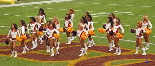 Redskinette Cheerleaders do their routine in the end zone.