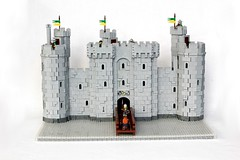 Bodiam Castle (soccersnyderi) Tags: door wood bridge tower castle window water stone wall model lego flag replica creation round block bodiam technique snot portcullis desgin rubble battlements realistic gatehouse moc crenelations