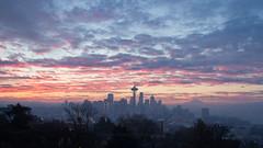 Sunrise within the fog. (Brendinni) Tags: seattle skyline sunrise spaceneedle kerrypark seattlewa columbiatower