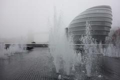 Foggy More London (Spannarama) Tags: uk blackandwhite mist london water fog thames towerbridge river cityhall fountains morelondon glasstesticle