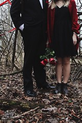 the duo (Jolie Laide Photography) Tags: morning winter red roses cold flower male nature rose female goal model couple dress lace models earlymorning relationship fancy theme bouquet tux blackdress fancywear thestarysky relationshipgoal
