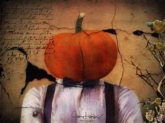 Pumpkin Head Portrait (jimlaskowicz) Tags: awardtree portrait surreal tux bowtie formal grunge selfie pumpkin painterly artistic netartii trolled
