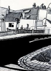 Calais, vue de la rue de la Vende sur le pont du canal (tintin62100) Tags: dessin encre marqueur permanent ink drawing ville pont architecture