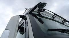 Mercedes Truck, Stuttgart, Germany (Winfried Scheuer) Tags: lastwagen windscreen mirror reflection sculpture macho horn sunvisor front motor vehicle automobile windsdcreenwiper wiper