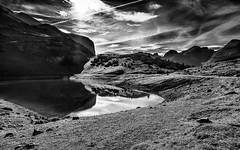 Swimming, climbing or walking... (Ody on the mount) Tags: dolomiten urlaub berge wasser spiegelung sw bw monochrome