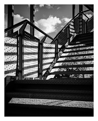 Stairway (Dave Button) Tags: stairs staircase nottingham jubileecampus universityofnottingham fireescape light contrast bw