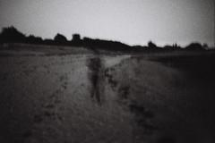 le fantme de la plage (asketoner) Tags: ghost silhouette blur night crpuscule beach locmariaquer bretagne france sand traces trees darkness