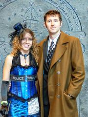 Dr. Who And His Pretty TARDIS (J Wells S) Tags: drwho tardis prettywoman smile candidportrait portrait cincinnaticomicexpo dukeenergycenter cincinnati ohio cosplay costume dressup tophat blue topcoat