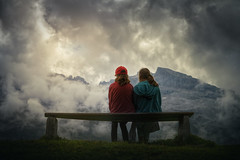 the view (Chrisnaton) Tags: tannalp switzerland mountains sisters bench clouds landscape outdoor girls sitandwait