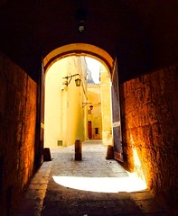 Silent city, mysterious Mdina. (In Julie's lens) Tags: mdina light door arch old ancient history malta europe explore ef summer wanderlust path adventure travel traveling silent city doors alley ruelle shadow